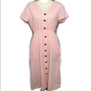 Vintage pink dress with button detail and pockets